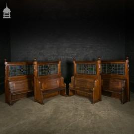 Pine Pews with Leaded Glass Panels and Turned Detail