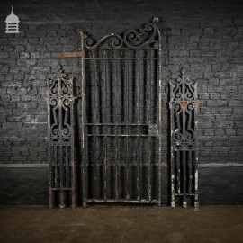 19th C Cast Iron Gate with Scroll Detail and Decorative Side Panels