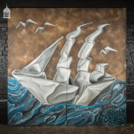 Large 2 Panel Graffiti Street Art of Origami Paper Ship by Artist Airborne Mark