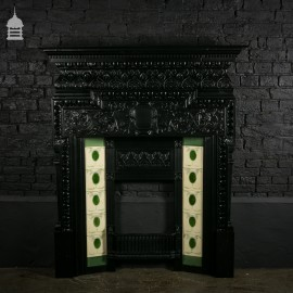 Original Cast Iron Coalbrookdale Arts & Crafts Fireplace Surround with Immaculate Tiles
