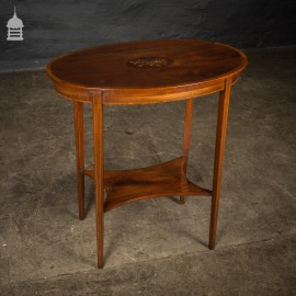 Edwardian Oval Mahogany Inlaid Side Table