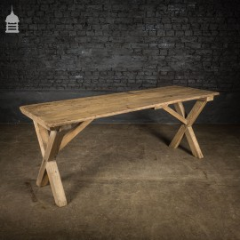 19th C Rustic Pine X-Frame Scrub Table