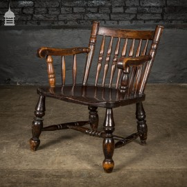 Low 19th C Elm Childs Armchair