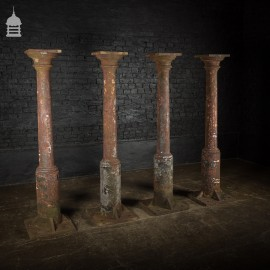 Set of 4 19th C Cast Iron Columns Stanchions Pillars