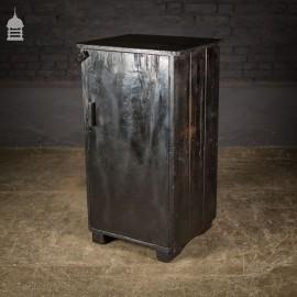 Industrial 20th C Black Workshop Cupboard with Drawer