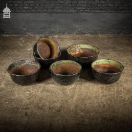 Batch of 6 19th C Cast Iron Cauldrons with Exterior Distressed Black Gloss Paint Finish