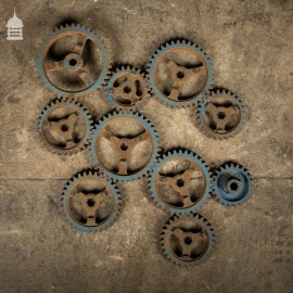 Batch of 10 Vintage Mechanical Cast Iron Cogs for Display