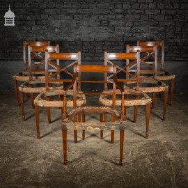 Set of Six George III Reeded Mahogany Dining Chairs and One Carver Chair Ready for Upholstery