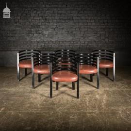 Set of Six Ebonised Hardwood Deco Tub Shape Dining Chairs