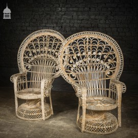 Pair of Early 20th C Cane Emmanuelle Peacock Chairs