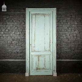 Georgian Panelled Pine Light Blue Door and Frame