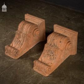 Beautiful Pair of Large 19th C Terracotta Corbels