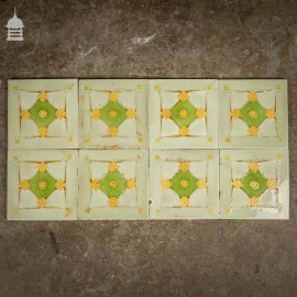 Set of 8 Original Decorative Green and White 6x6 Tiles