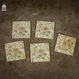 Set of 5 Arts and Crafts Floral 6x6 Tiles