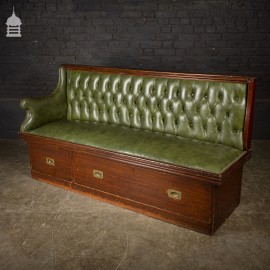 Early 20th C Green Leather Ships Cabin Bench Seat Settle with Drawers