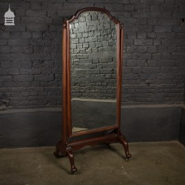 Full Length 19th C Mahogany Cheval Mirror with Original Bevelled Glass