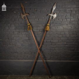 Pair of Early 20th C Detailed Halberds Dated 1918-19 with Oak Handles