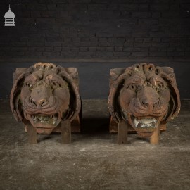 Huge Pair of 19th C Fire Clay Lion Heads