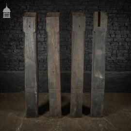 Set of 19th C Carved Oak Cart Shed Supports Posts Columns