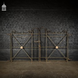 Pair of 18th C Wrought Iron Driveway Gates with Tudor Rose Detail