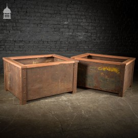 Pair of Victorian Industrial Rivetted Stillages Converted into Planters with Exotic Wooden Tops