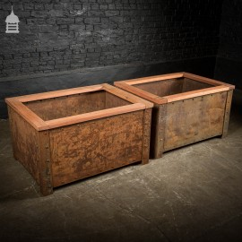 Pair of Victorian Industrial Rivetted Stillages Converted into Planters with Exotic Hardwood Tops