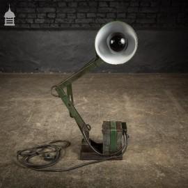 Vintage Industrial Green Enamel Angle Poise Workshop Lamp