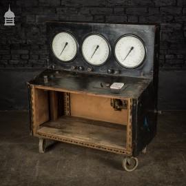 Vintage Industrial Pressure Gauges Testing Trolley