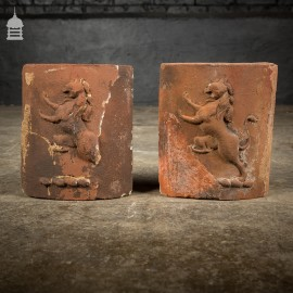 Pair of Reclaimed 19th C Mythical Creature Curved Chimney Bricks