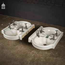 Pair of Interlocking Double Basins with Original Taps