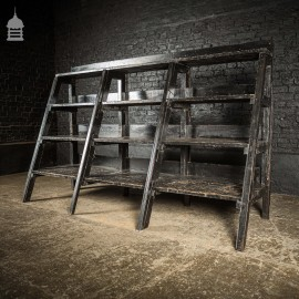 Vintage Black Industrial Wood and Metal Workshop Shelving Unit