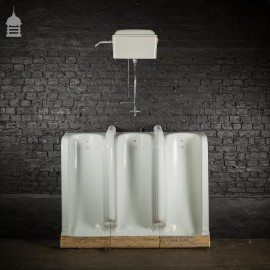 Bank of Three Vintage Twyfords Adamant Urinals Complete with Original Cistern