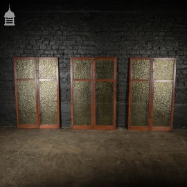 Victorian Set of 6 Mahogany Framed Yellow Textured Glass Glazed Cupboard Doors with Brass Hardware