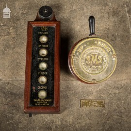 19th C Brass Elevator Switch and Floor indicator by Smith, Major & Stevens Ltd