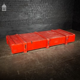 Huge Red Industrial Wooden Aircraft Part Shipping Crate reclaimed from a Norfolk RAF Base