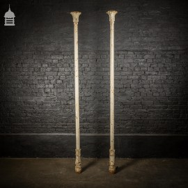 Pair of Elegant 19th C Cast Iron Pillars Columns with Acanthus Leaf Detail