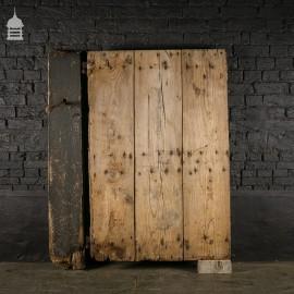 Wide Pine Plank Ledged Barn Door with Original Post