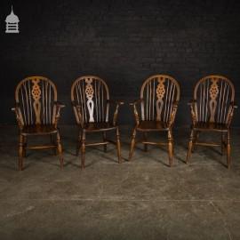 Set of 4 19th C Elm Wheelback Carver Windsor Chairs