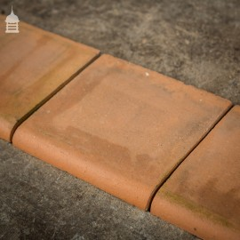 "Batch of 33 Smooth Terracotta Bullnose 6"" Quarry Tiles"