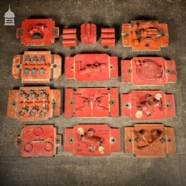 Batch of 15 Red Industrial Foundry Moulds