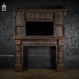 Victorian Carved Solid Oak Gothic Revival Fireplace Surround Chimneypiece with Mirror