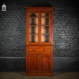 19th C Glazed Mahogany Bookcase Cabinet Bureau with Drawers and Key