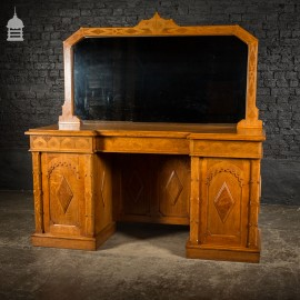 Arts and Crafts Oak with Inlaid Teak Pedestal Sideboard with Mirror from Norwich Cathedral
