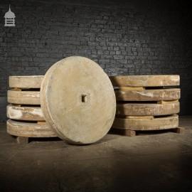 Batch of 9 Matching 3.5 ft Diameter Sandstone Mill Stones