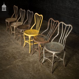 Set of Six Vintage Hammer Brand Steel Chairs with Distressed Paint