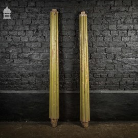 Pair of 19th C Green Painted Reeded Teak Columns
