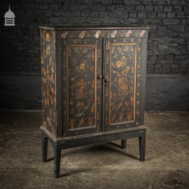 Small Georgian Black Painted Cupboard with Later Victorian Decoupage Decorations Dated 1879