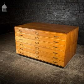 Mid Century Oak Plans Drawers Chest Cabinet
