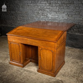 Rare Victorian Striking Mahogany Pedestal Bureau Desk with Large Drop Leaf Table to the Rear
