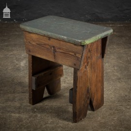 Vintage Industrial Pine Stool with Grey Painted Seat